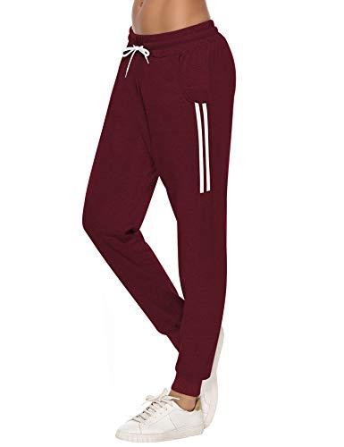 Sykooria Damen Jogginghose Sporthose Lang Yoga Hosen Freizeithose Laufhosen Baumwolle High Waist Trainingshose für Frauen mit Streifen-Streifen B-rot-L
