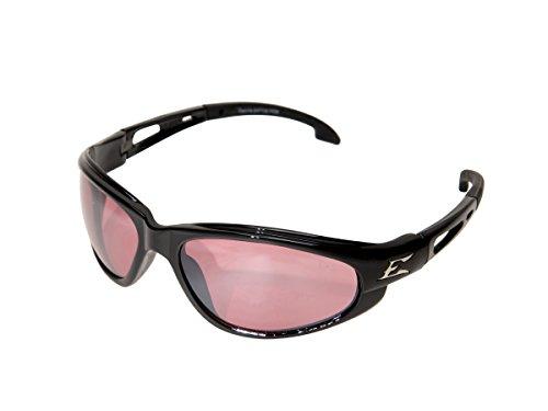 Edge SW119 Dakura Wrap-Around Safety Glasses, Anti-Scratch, Non-Slip, UV 400, Military Grade, ANSI/ISEA & MCEPS Compliant, 5.04' Wide, Black Frame/Rose Mirror Lens