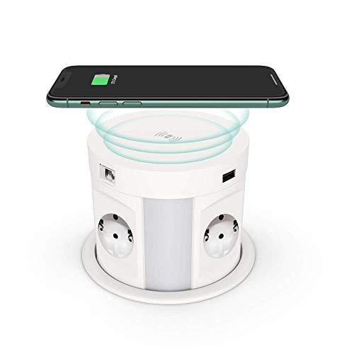 Torre de enchufe retráctil con USB, THOWALL enchufe oculto para mesa con cargador inalámbrico, enchufe múltiple con 4 enchufes Schuko, 2 puertos USB y HDMI y conectores RJ45 (enchufe europeo)