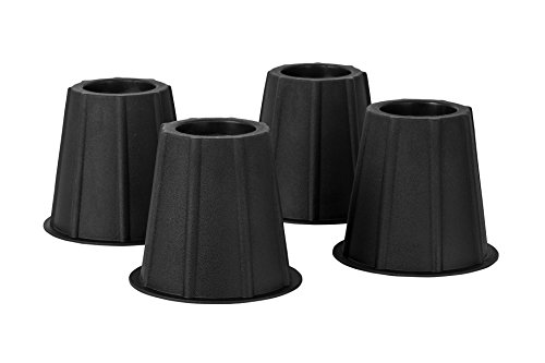 Home-it 5 to 6-inch Super Quality Bed risers, Black Round Shaped, Bed Riser Helps You Storage Under The Bed 4-Pack