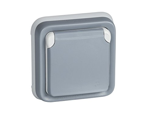 Legrand, 191512 Plexo - Enchufe de pared, enchufe estanco de empotrar de la gama Plexo, enchufe exterior, resistente al agua (IP55), color gris