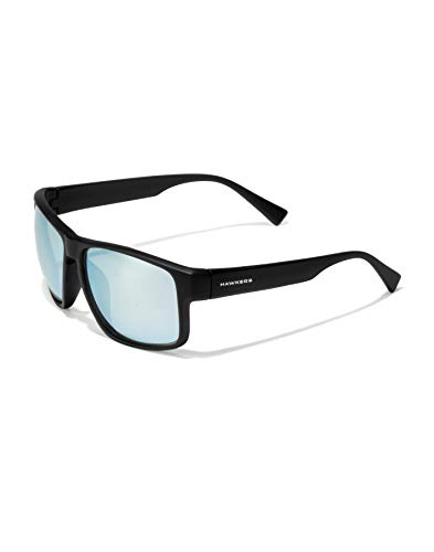 HAWKERS Gafas de Sol Deportivas Faster, para Hombre y Mujer, con Montura Mate y Lente cromada Cielo con Efecto Espejo, Protección UV400, Negro/Azul claro, One Size Unisex-Adult