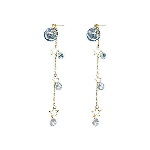 Ohrringe 925 Silber Pin Ohrringe Wasserball Pentagramm Quaste Zirkon Damen Accessoires