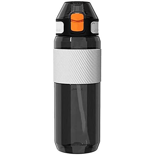 Botella de agua deportiva con cubierta de paja y olla, BPA a prueba de fugas reutilizables ampliamente utilizada, adecuada para actividades físicas, gimnasio y actividades al aire libre (negro),Black