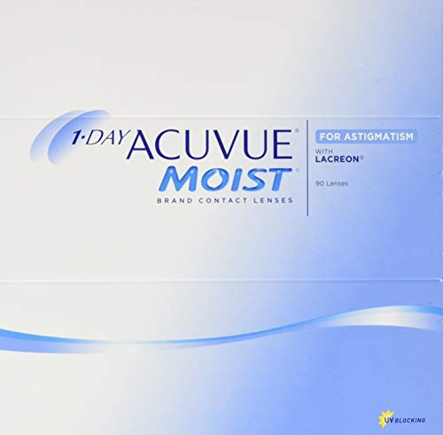 Acuvue 1-Day Acuvue Moist For Astigmatism Tageslinsen weich, 90 Stück/ BC 8.5 mm / DIA 14.5 mm/ CYL -0.75 / ACHSE 30 / -0.5 Dioptrien
