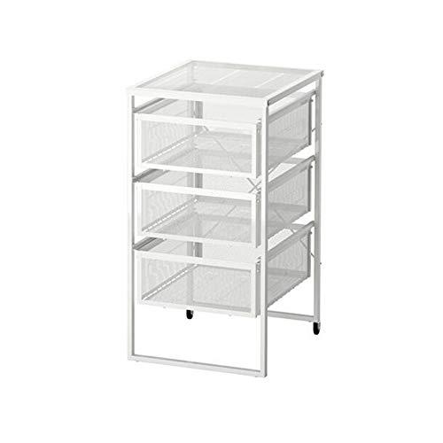 JCNFA planken meerlagig ladekast/eindtafel, staal Office File Storage Cabinet, met 2 ronden van roterende beweging, wit