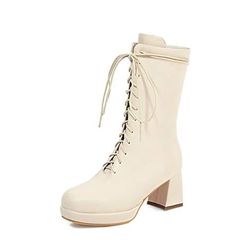 LOVE-HOME Botas De Tubo Medio, Botines con Cordones Cruzados De Plataforma Impermeable, Zapatos De Mujer De Moda Retro De Tacón Alto Grueso con Punta Redonda,Blanco,35