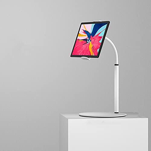 NessKa 360° Handy Tablet Tischhalterung Desktop Halter eBook Büro Küche Tisch Halterung Ständer Metall geeignet für iPad 10.2 10.9 Air Pro Samsung Galaxy Tab A A7 S6 Huawei Nintendo Switch in Weiß