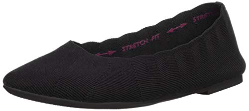 Skechers womens Cleo Bewitched - Engineered Knit Skimmer Ballet Flat, Black, 8.5 US