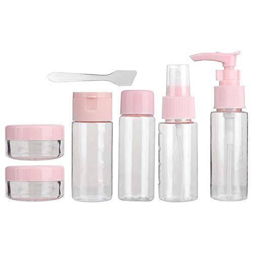 Reiseflaschen Reisebehälter mit 7 Stück, leere Make-up-Sprühflasche, tragbares, wiederverwendbares, nachfüllbares Reiseflaschen-Set für flüssige Shampoos, Seife und Creme(1712Pink)