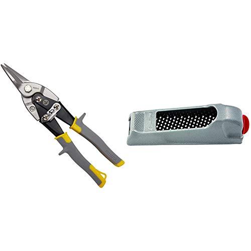 Bellota 6006-S Tijera para chapa en acero, corte recto, cuchillas forjadas + 4107-140 Escofina yeso y limas para placa de yeso laminado metálica de 140mm