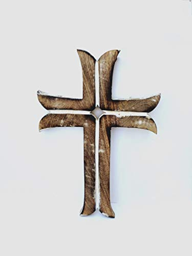 Wooden Celtic Cross White - Brown Wooden Hanging Wall Cross, Rustic Cross for Wall of Crosses, Religious Home Decor, Gift Idea for Birthdays, Easter, Christmas, Weddings, or Any Occasion