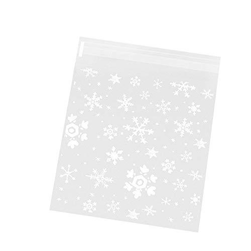 MoGist Lot de 100 sachets autocollants en plastique OPP - Motifs minimalistes, flocons de neige - Pour bonbons, biscuits - Blanc