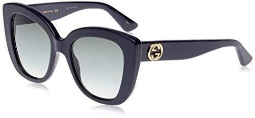 Gucci Occhiali da Sole Donna GG0327S 007 Blu Oversize Arrotondati Lenti Blue Sfumate Fumè cal 52