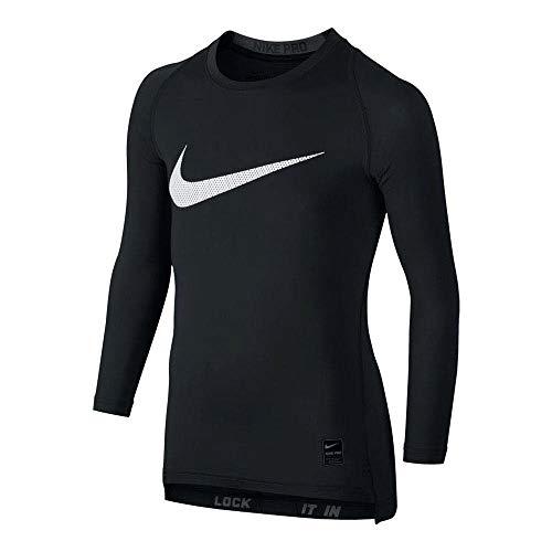 NIKE Cool Hbr Comp LS YTH Camiseta, Niños, Negro/Gris/Blanco (Black/Anthracite/White), S