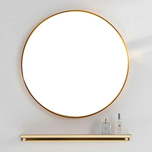 YF-Mirror Espejo de Pared de círculo Grande Dorado con Estante - 40/50/60/70/80 cm Espejo de vanidad Redondo de Metal Dorado para...