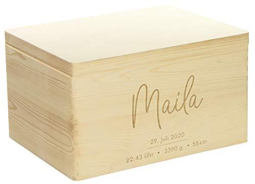 LAUBLUST Erinnerungsbox Baby Personalisiert - Geschenk zur Geburt | 40x30x24cm, Natur, FSC® | Serie: Niers - Frontmotiv
