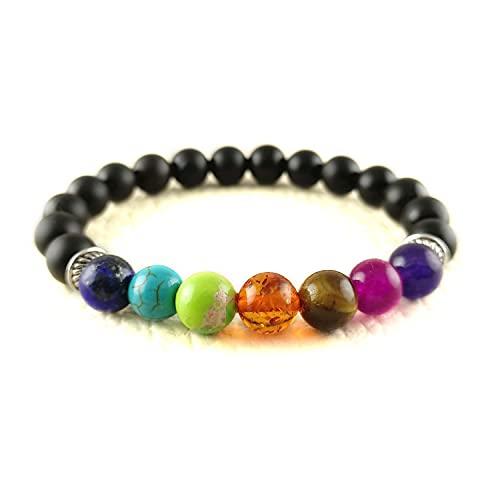 Crystallay Natural Esmerilado Negro Onyx Gemstone 8MM Cuentas 7 Chakra Crystal Healing Stretch Pulsera Meditación, Relex, Concquer Fear Brazalete para mujeres y hombres