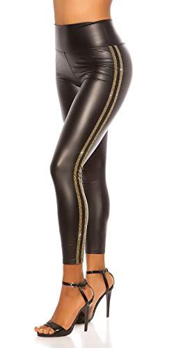 Fashion Design dames wetlook lederlook leggings met glitterstrepen