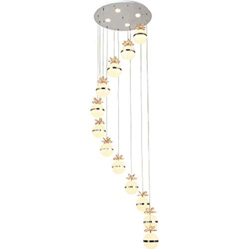 Kwdzlighting ladder naar moderne spinnen-LED-gebouwen, duplex-sfeer, eenvoudig, kristalzand, spiraal, lange spin, voor hal, woonkamer, hal, hotel