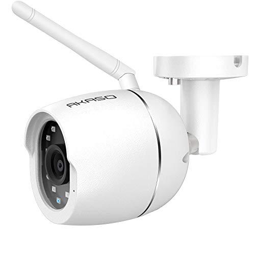 AKASO Cámara de Vigilancia Exterior Cámara IP WiFi de Seguridad IP66 1080P 2MP Compatible con Alexa y Google Home Visión Nocturna Audio Bidireccional Detección de Movimiento, Cuerpo Metálico (B70)