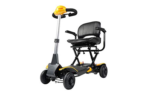 Electric Boot Mobility Scooters Wheelchair and Automatic Fold by Remote Control (Yellow)