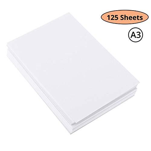 Papel Acuarela A3 - Pack de 125 Hojas Papel Algodón Prensado en Frio – Perfecto para Artistas y Principiantes, Papel Dibujo para Niños Practicar – Papel para Pintar 200GSM