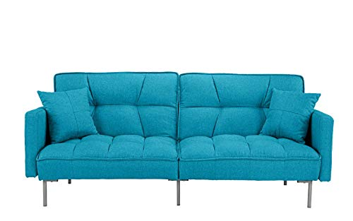 Divano Roma Furniture EXP54-3S-BLU Collection Futon, Small, Light Blue