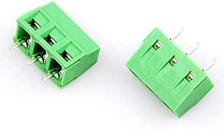 YXQ 5mm Pitch 3 Pole PCB Mount Screw Terminal Block Connector 300V 12A Green,30Pcs