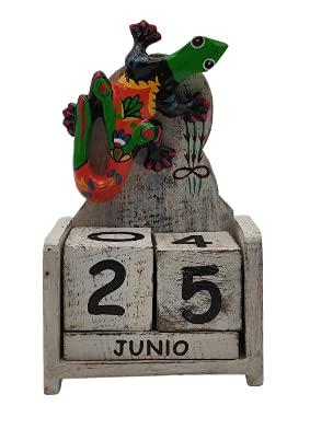 SusggO Calendario Perpetuo de Madera Gecko Animales Artesania Decoración para la Mesa, estanteria, Escritorio, sobremesa (DECAPADO Blanco Gecko Mod 2 BG2)