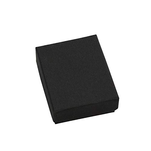 MOOCA 100 Pcs #11 Cardboard Paper Cotton Filled Boxes Gift Case for Small Earrings/ Pendants or Gemstones, 2 1/8''W x 1 5/8''D x 3/4''H, Black Matte