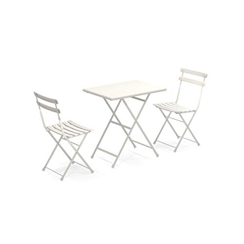 Set Arc EN Ciel Colore Bianco Opaco Composto da Tavolo 50x70 CM Art. 334 + 2 SEDIE Pieghevoli Art. 314 - Made Italy