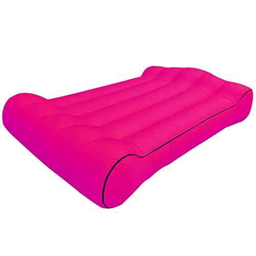 PLMOKN Aufblasbares Außenbett Tragbare Doppelliege Bequemes Sofa Camping Luftbetten Innenbüro Faltbare Schlafsackmatratze für Nickerchen(Pink)