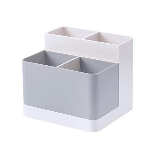 Lunmore Desktop Storage Organizer Pencil Case Card Holder Box Container for Desk, Office Supplies, Vanity Table Gray