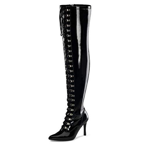 Higher-Heels Funtasma Weitschaft-Stiefel Dominatrix-3024X Lack schwarz Gr. 43
