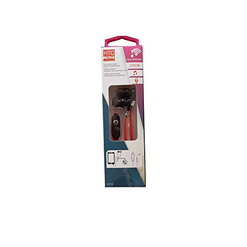 HTC Equipements Smartphone Earphones with Microphone Black and Cable 1.2 m Red