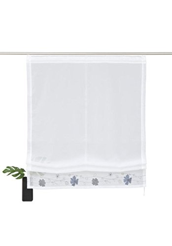 Home Affaire transparentes Raffrollo \' Arlon \' mit Blumenkante grau Höhe 140 cm, Raffrollos:HxB 140/120