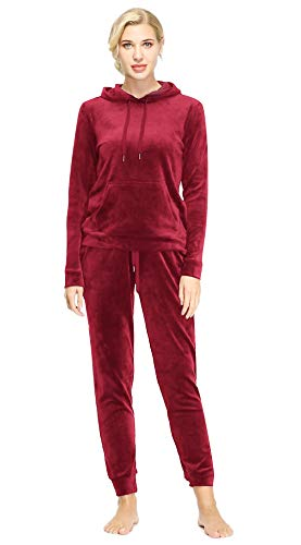 Dolcevida Women's Active Solid Velour Tracksuit Zip up Hoodie & Pullover Sweatshirts and Sweat Pant Sweatsuit (Pullover Top-Red, M)