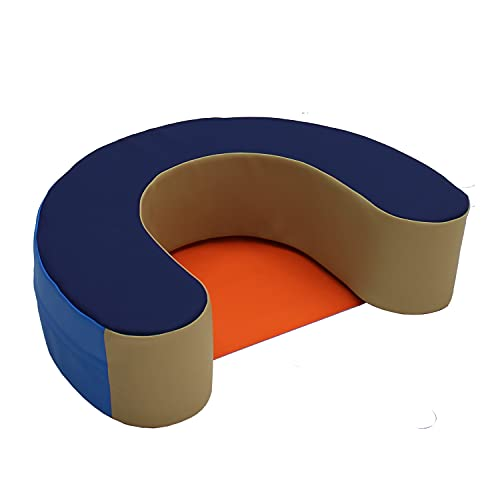 FDP SoftScape Sit and Support Ring for Babies and Infants; Learn to Sit, Balance, Strengthen Muscles, Cushioned Foam Floor Seat with Non-Slip Bottom for Nursey, Playroom, Daycare - Navy/Orange
