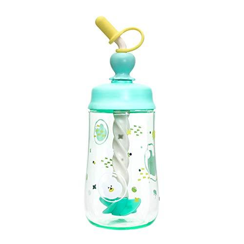 WANGSHANG Taza de paja de gran capacidad, botella de agua de plástico impresa con dibujos animados mixtos, adecuada para niños y estudiantes, con tapa de pico para limpieza y seguridad