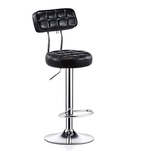 YLCJ Barhocker Stuhl mit PU-Sitz Fußstütze Rückenlehne Verstellbarer Gasheber, Höhe 24 cm für Küchenbar Salon Spa Clinic Verchromter Tellerfuß max. Laden Sie 440lb