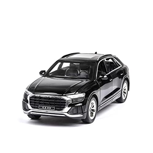 GEBAN Vehículo a Escala 1:24 para Audi Q8 SUV, Modelo de vehículo Todoterreno, Modelo de Coche de aleación de simulación con luz de Sonido, Coche de Juguete para Chico (Color : Black)