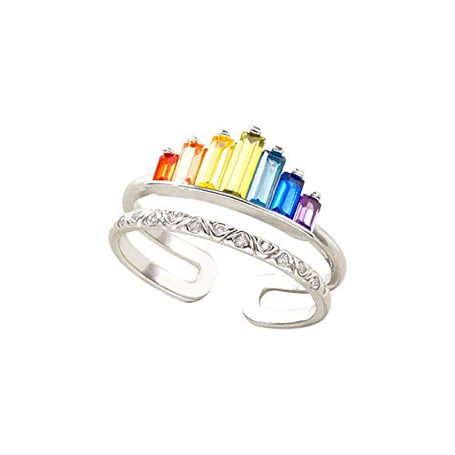 Fashionable Rainbow Micro Diamond Ring Female Adjustable Opening Ring Jewelry Party Wedding Valentine's Day (Gold, One Size)
