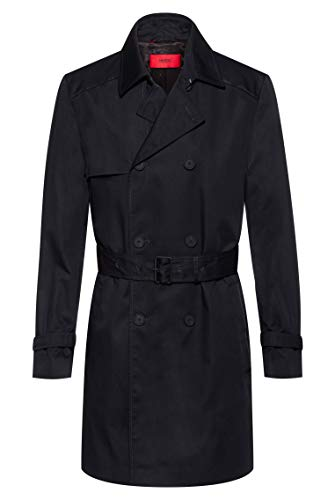 HUGO Mens Maluks2041 Trenchcoat, Black (1), 48