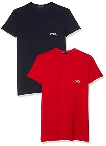 Emporio Armani Underwear Herren Men\'s Knit 2PACK T-S T-Shirt, Mehrfarbig (Rosso/Marine 09674), Medium (Herstellergröße: M)