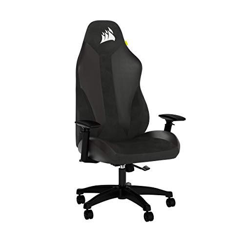 Corsair TC70 REMIX Gaming-Stuhl (Entspannte Passung, Bezug aus Kunstleder und Weichem Stoff, Integrierte Lendenstütze aus Schaumstoff, Vielseitig Verstellbare Armlehnen, Leicht zu Montieren), Schwarz