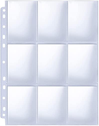 30 Pack 9 Pocket Page Protector, Binder Card Sheets, Trading Card Page Protectors, Collectible Card Album for Trading Cards, Baseball Cards, Sport Cards, Game Cards, Business Cards