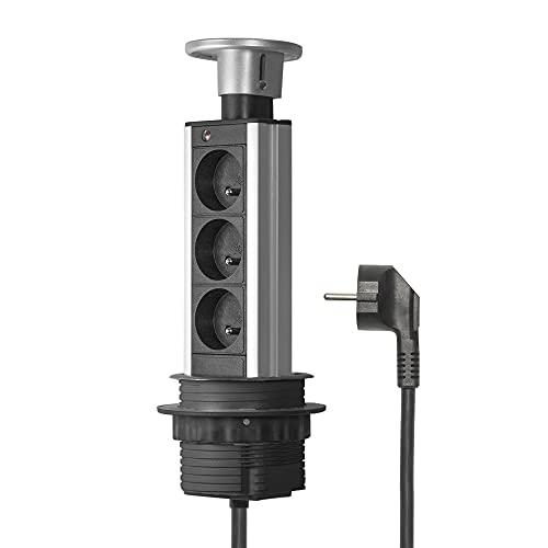 Elbe Inno Bloc Prise Encastrable 3 Prises de Courant Diamètre 80mm Multiprise Escamotable Standard pour Plan de Travail Cuisines Bureau Chambre