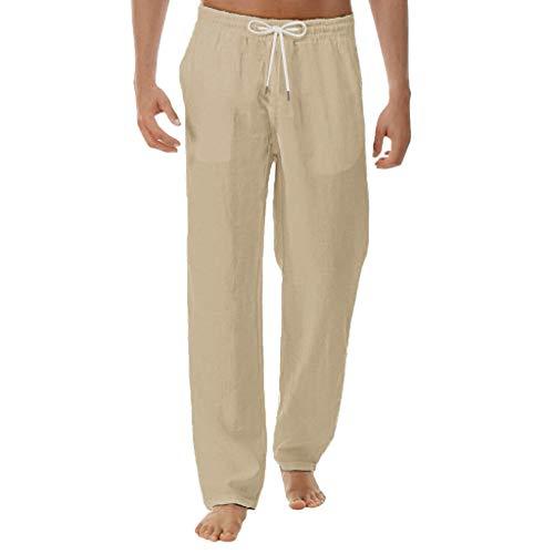 Men Casual Beach Trousers Linen Summer Loose Lightweight Elastic Waist Yoga Pants (XL, Khaki -1)