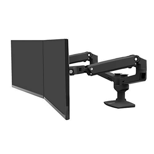ERGOTRON LX Dual Monitor Arm in Schwarz - Monitor Tischhalterung mit patentierter CF-Technologie für 2 Bildschirme nebeneinander bis 27 Zoll und 33cm Höhenverstellung